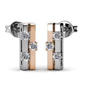 Rose Gold and Silver Earrings Made with Swarovski